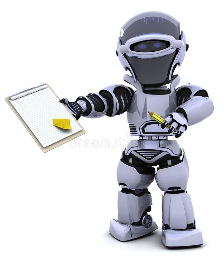Robot con i appunti illustrazione vettoriale