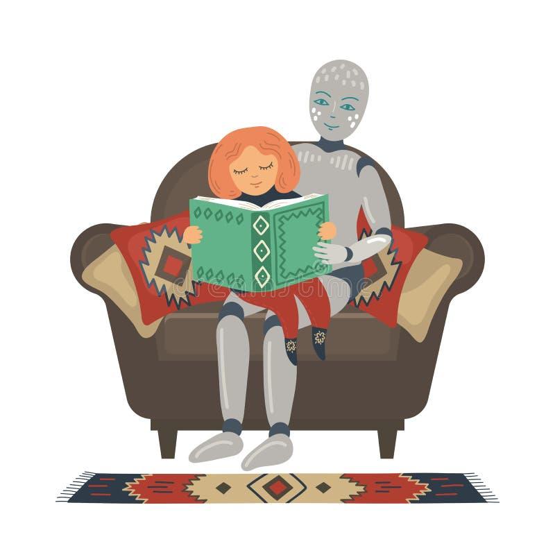 Robot con il bambino che si siede in poltrona e libro di lettura illustrazione vettoriale