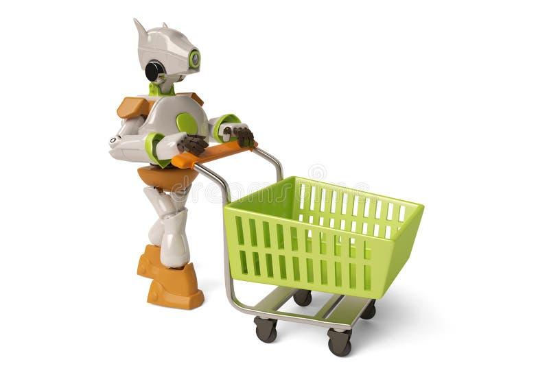 Robot con il carrello, illustrazione 3D illustrazione vettoriale