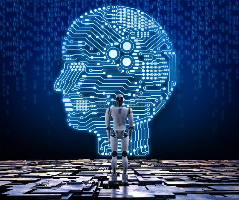 Robot con il cervello del circuito royalty illustrazione gratis