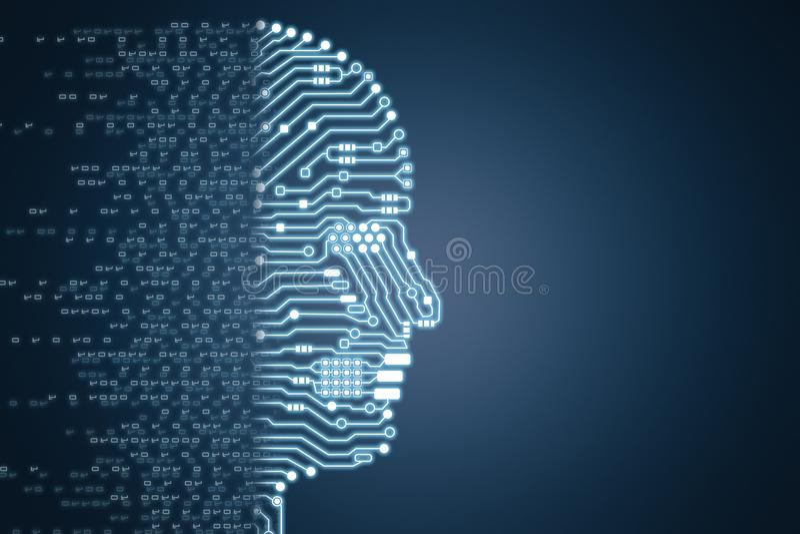 Robot con il cervello del circuito immagini stock libere da diritti