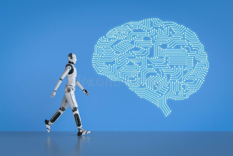 Robot con il cervello del circuito illustrazione vettoriale