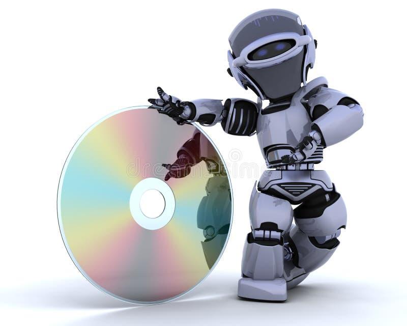 Robot con il disco ottico di media illustrazione di stock