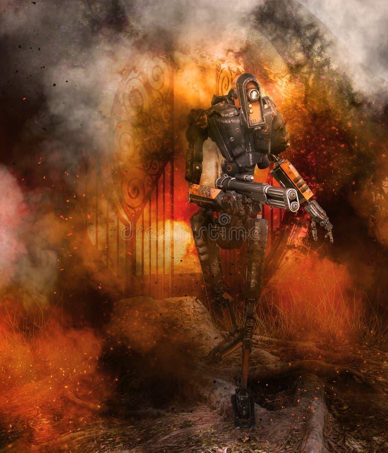 Robot con il fondo del fumo e della pistola royalty illustrazione gratis