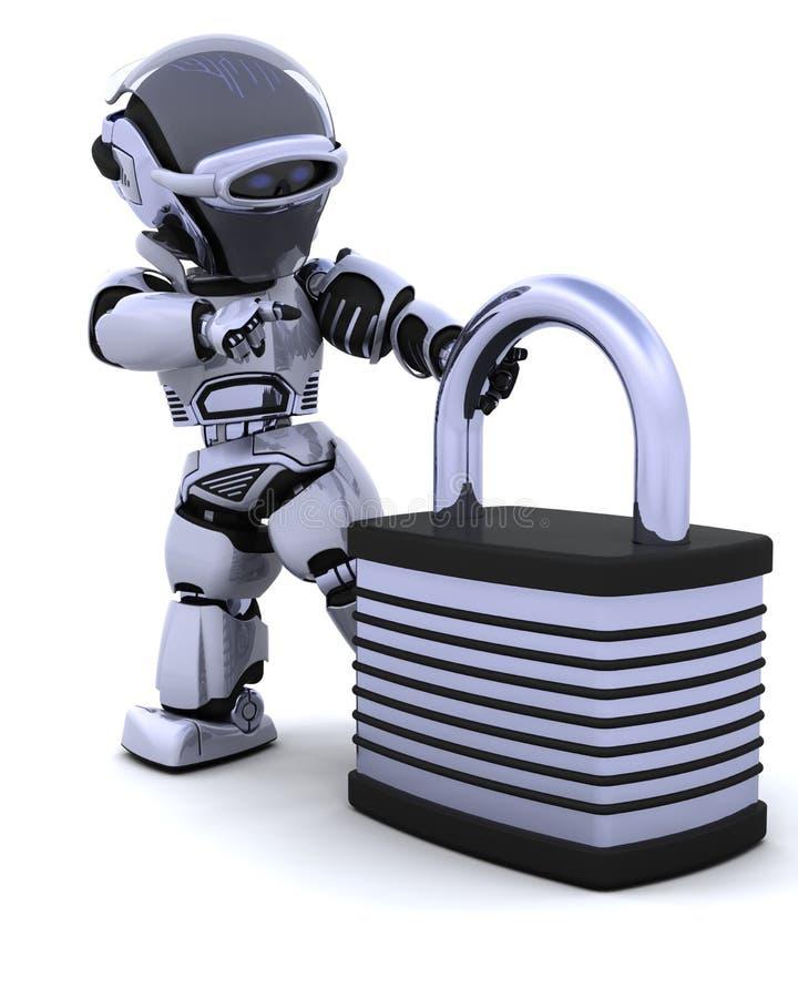 Robot con il lucchetto illustrazione di stock