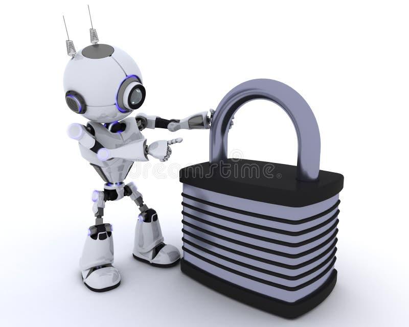 Robot con il lucchetto illustrazione vettoriale