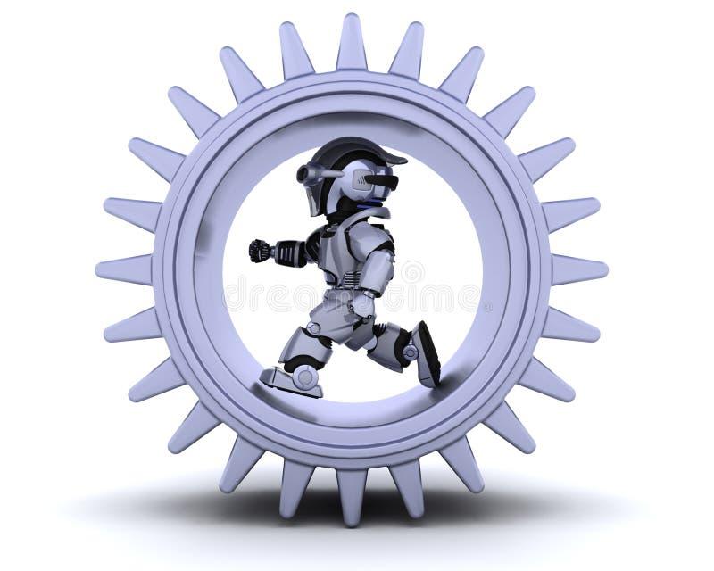 Robot con il meccanismo di attrezzo illustrazione vettoriale