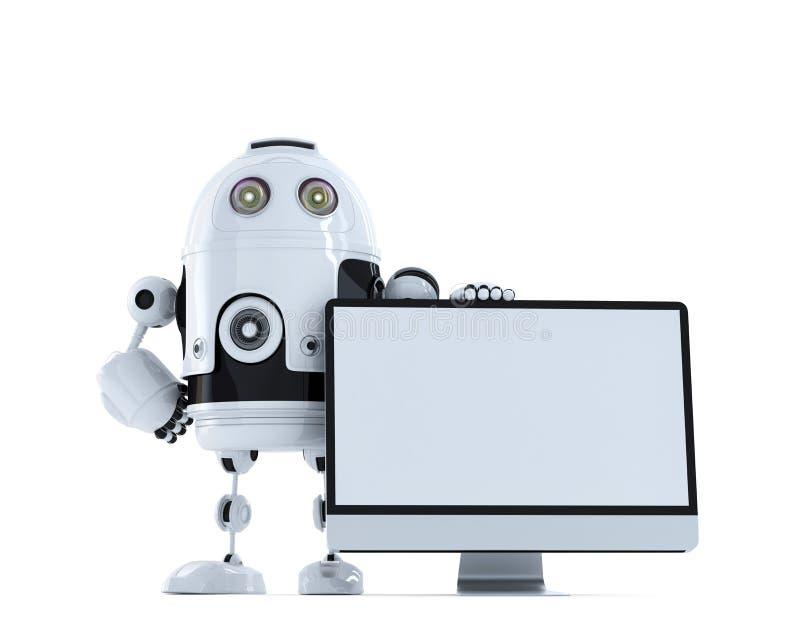 Robot con il monitor del computer. Concetto di tecnologia illustrazione di stock