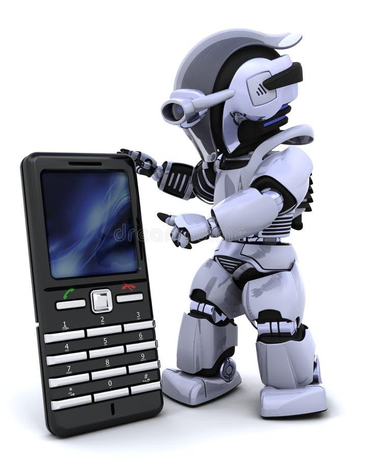 Robot con il phoine astuto illustrazione di stock
