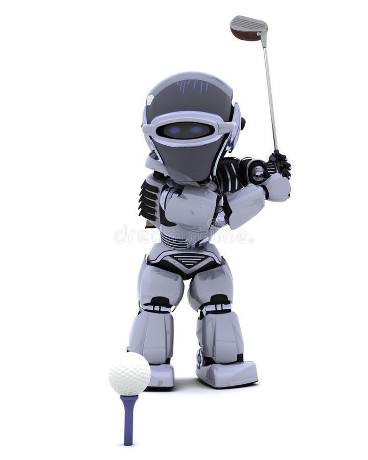 Robot con il randello che gioca golf illustrazione vettoriale