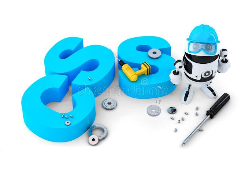 Robot con il segno di CSS Concetto di tecnologia Isolato Contiene il percorso di ritaglio royalty illustrazione gratis