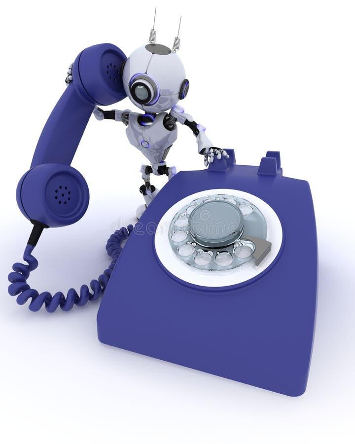 Robot con il telefono royalty illustrazione gratis