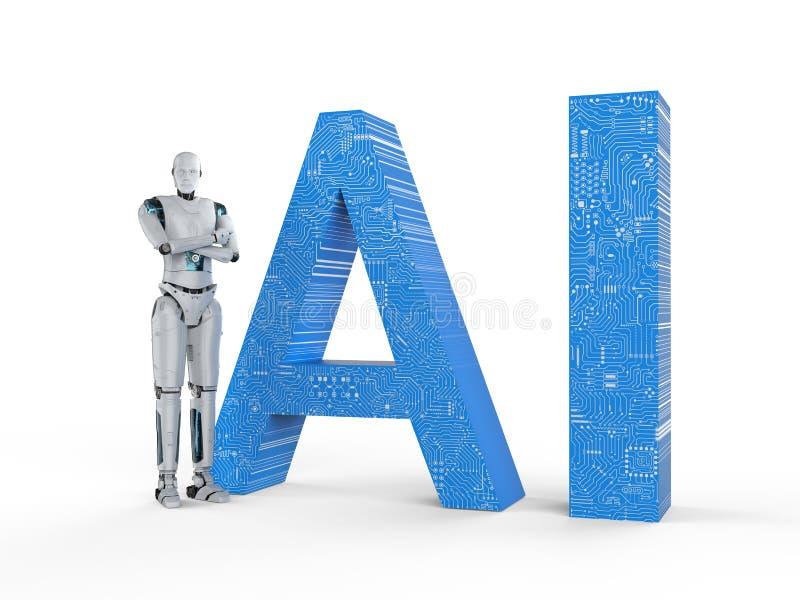 Robot con il testo di ai fotografia stock libera da diritti