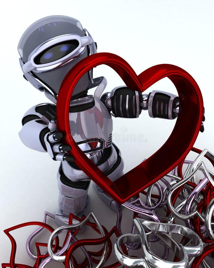 Robot con incanto del cuore illustrazione vettoriale