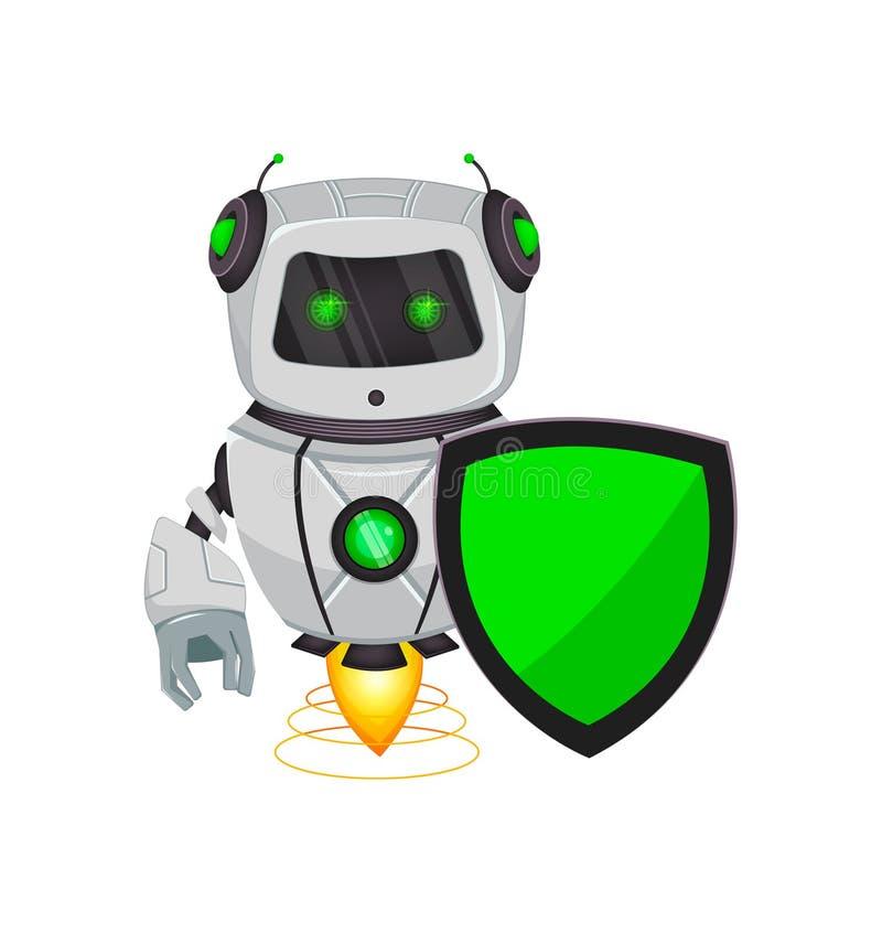 Robot con inteligencia artificial, bot El personaje de dibujos animados divertido sostiene el escudo verde Organismo cibernético  ilustración del vector