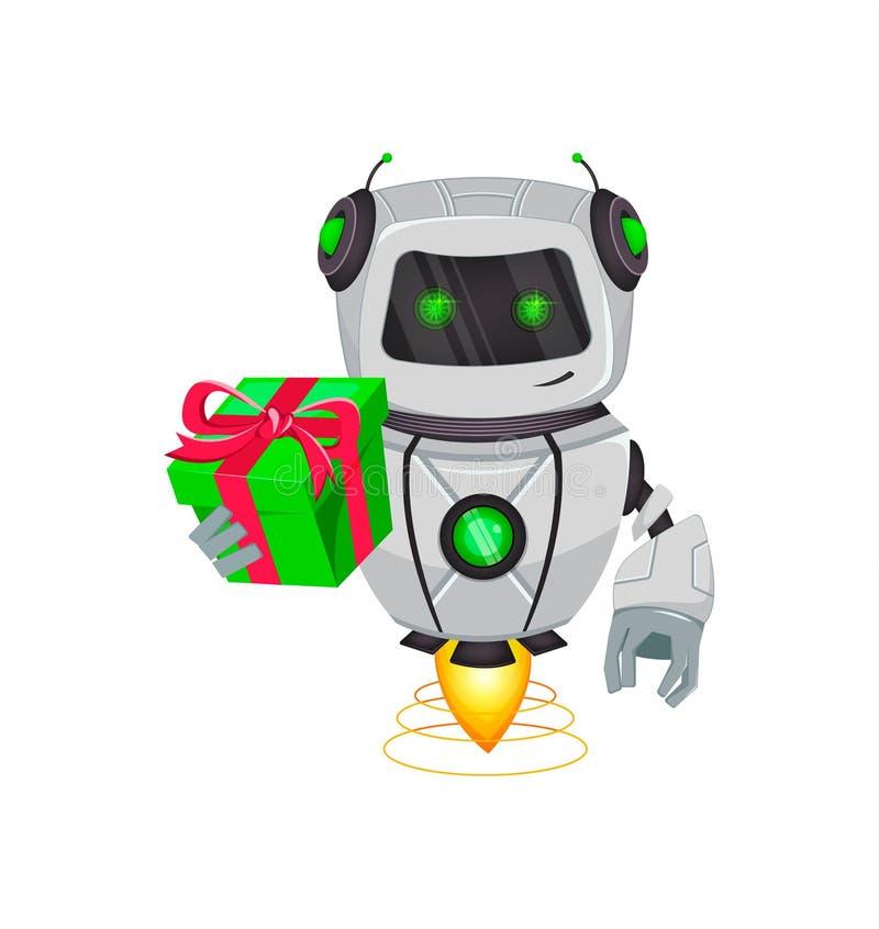 Robot con inteligencia artificial, bot El personaje de dibujos animados divertido sostiene la caja de regalo verde Organismo cibe ilustración del vector