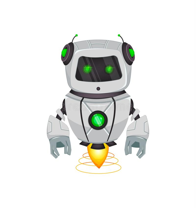 Robot con inteligencia artificial, bot El personaje de dibujos animados divertido sostiene la caja de regalo verde Organismo cibe libre illustration