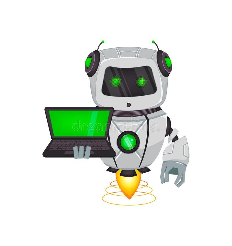 Robot con inteligencia artificial, bot El personaje de dibujos animados divertido sostiene el ordenador portátil Organismo cibern stock de ilustración