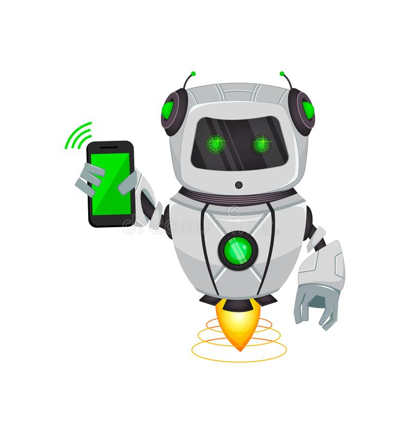 Robot con inteligencia artificial, bot El personaje de dibujos animados divertido sostiene smartphone Organismo cibernético del H stock de ilustración