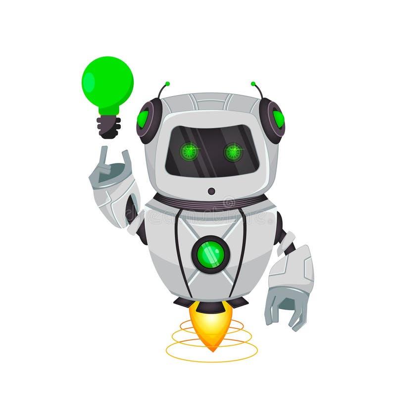 Robot con inteligencia artificial, bot Personaje de dibujos animados divertido que tiene una buena idea Organismo cibernético del ilustración del vector