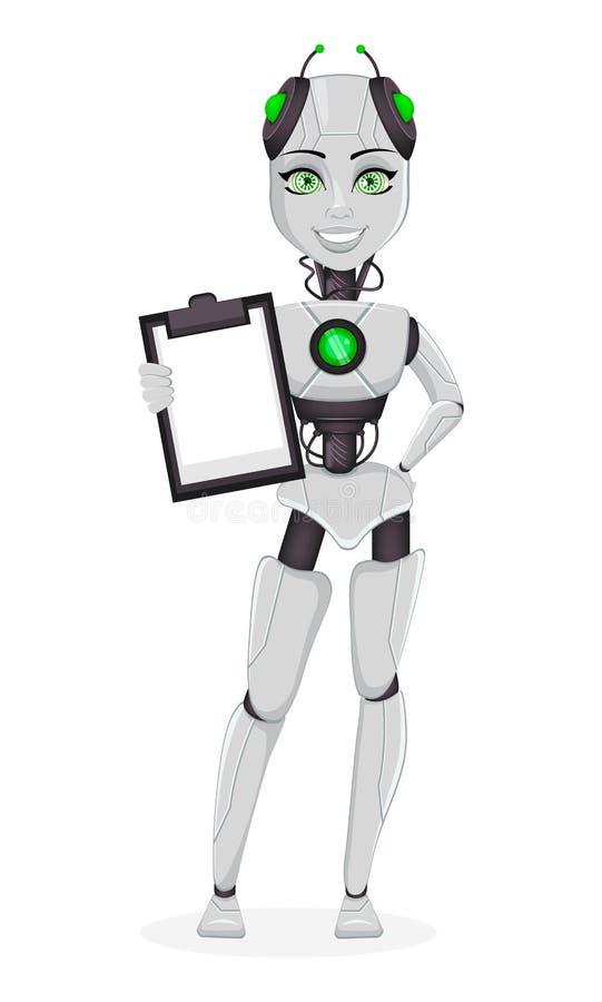 Robot con intelligenza artificiale, bot femminile illustrazione di stock