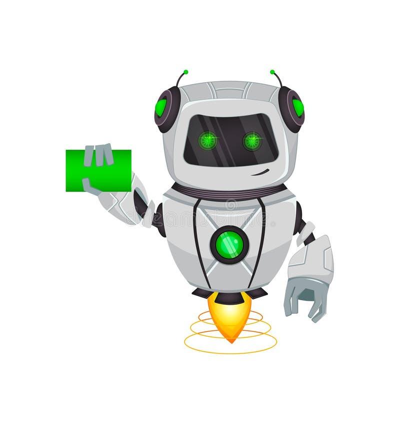 Robot con intelligenza artificiale, bot Il personaggio dei cartoni animati divertente tiene il biglietto da visita in bianco Orga illustrazione vettoriale