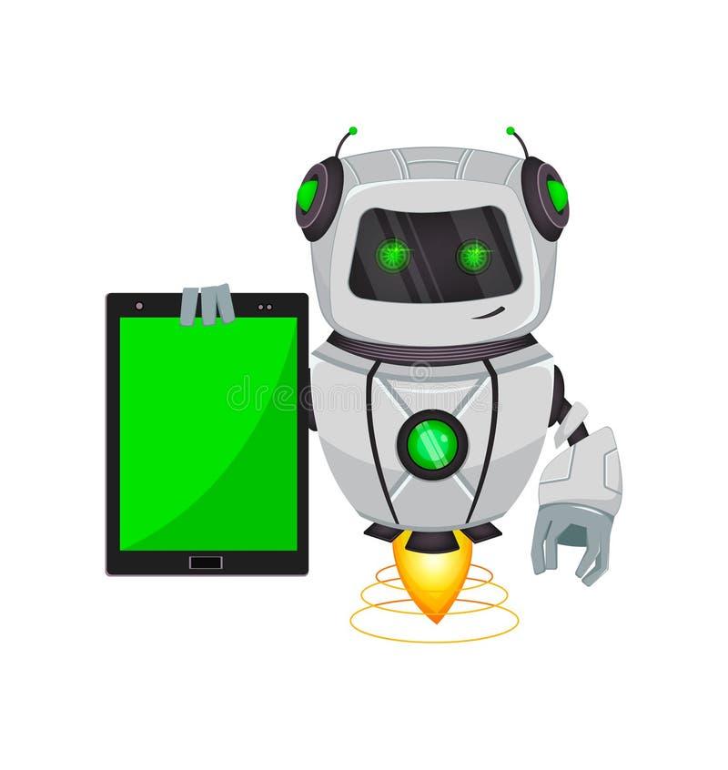 Robot con intelligenza artificiale, bot Il personaggio dei cartoni animati divertente tiene la compressa Organismo cibernetico di royalty illustrazione gratis