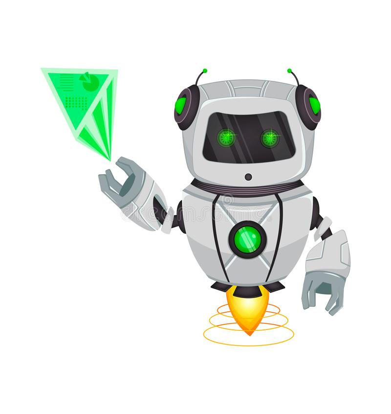 Robot con intelligenza artificiale, bot Punti divertenti del personaggio dei cartoni animati sull'ologramma Organismo cibernetico illustrazione vettoriale