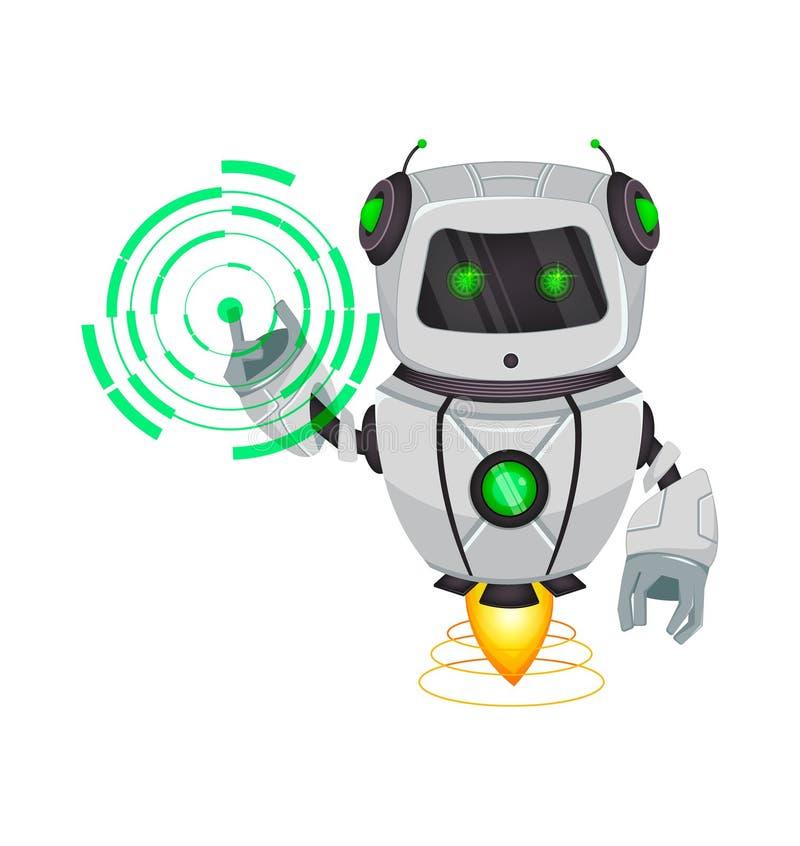 Robot con intelligenza artificiale, bot Punti divertenti del personaggio dei cartoni animati sull'ologramma rotondo Organismo cib royalty illustrazione gratis