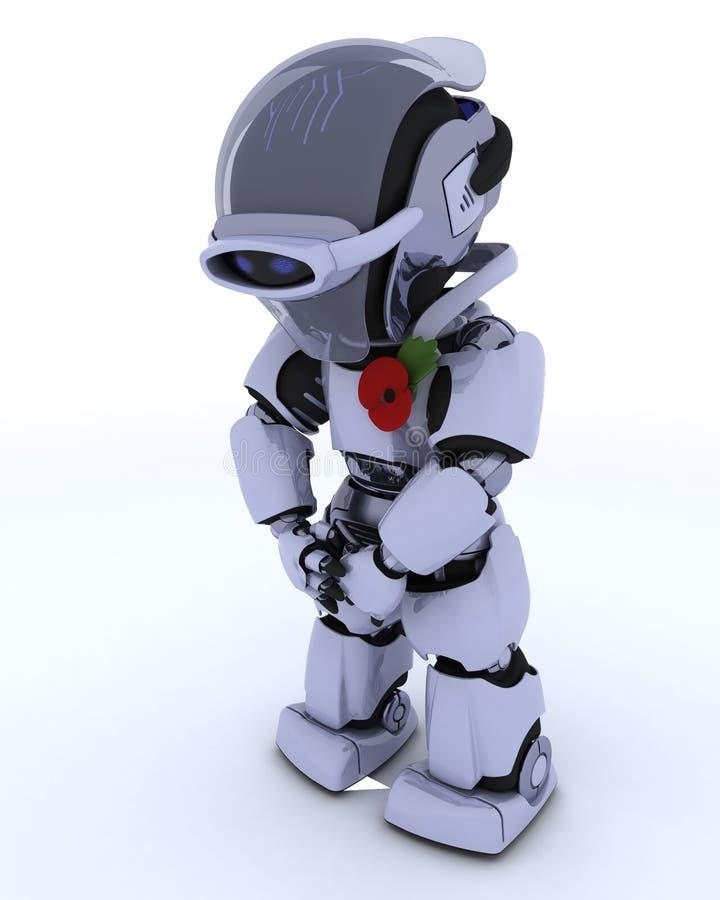 Robot con la amapola en la conmemoración ilustración del vector
