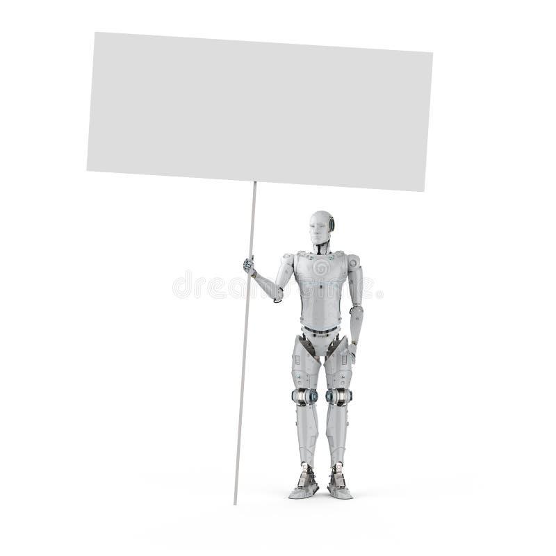 Robot con la bandera en blanco ilustración del vector
