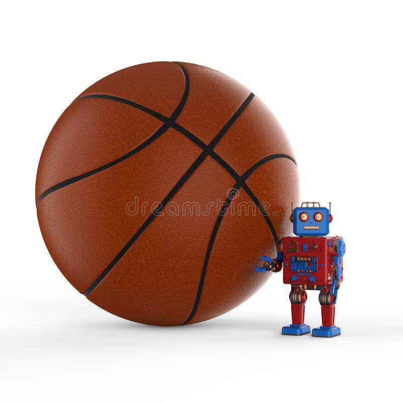 Robot con la bola del baloncesto ilustración del vector