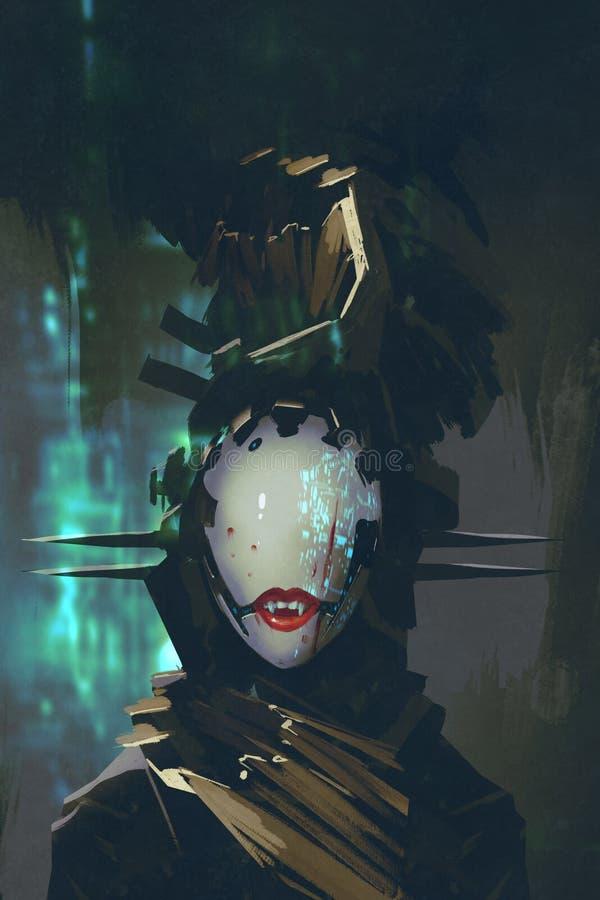 Robot con la cara artificial ilustración del vector