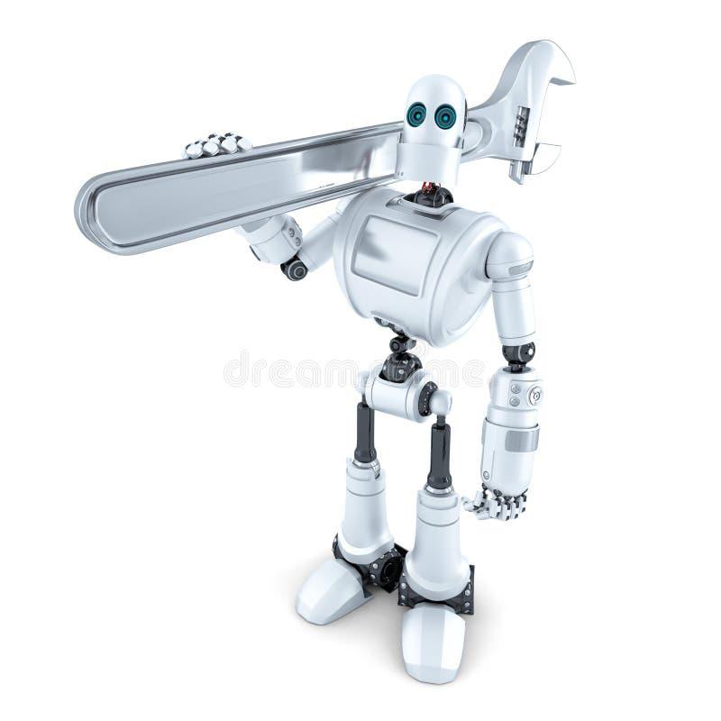 Robot con la chiave inglese Contiene il percorso di ritaglio illustrazione vettoriale