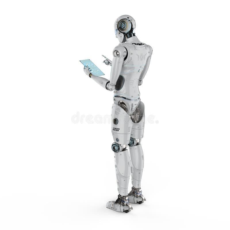 Robot con la compressa di vetro royalty illustrazione gratis