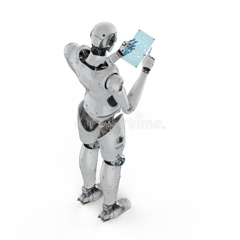 Robot con la compressa di vetro illustrazione vettoriale