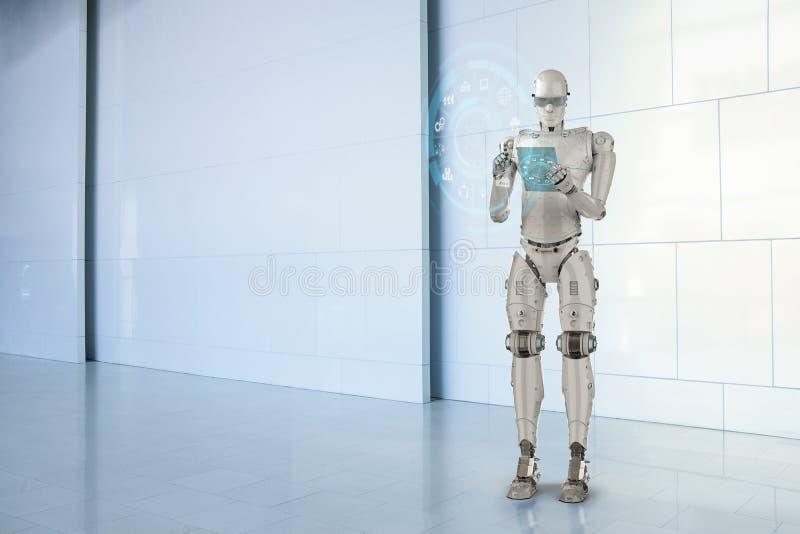 Robot con la compressa di vetro illustrazione di stock