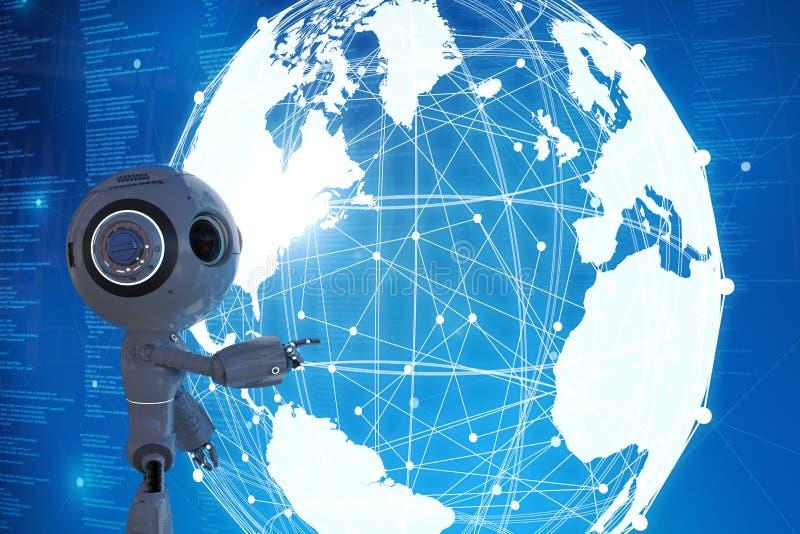 Robot con la conexión global stock de ilustración