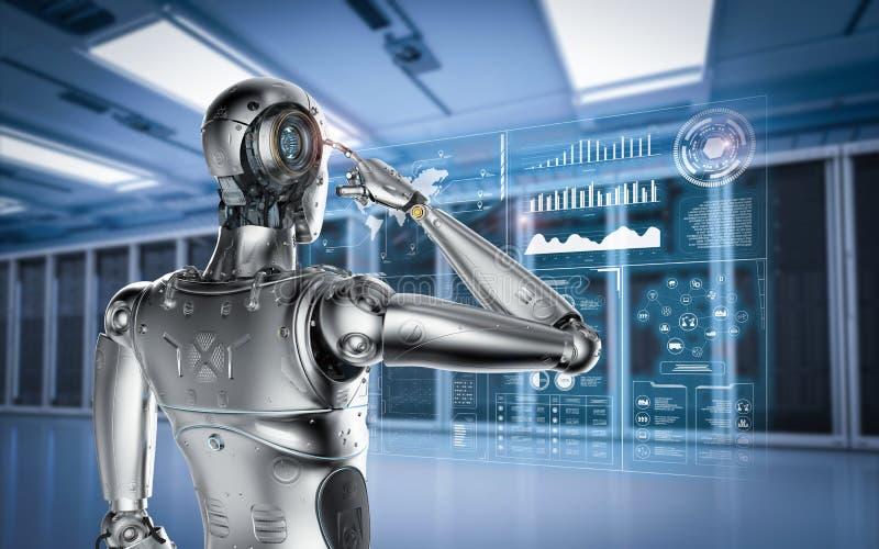 Robot con la exhibición del hud ilustración del vector