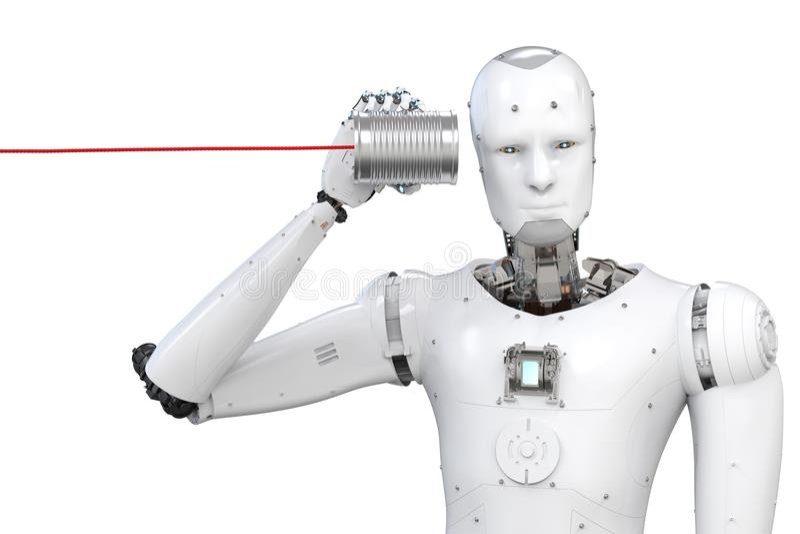 Robot con la lata fotos de archivo libres de regalías