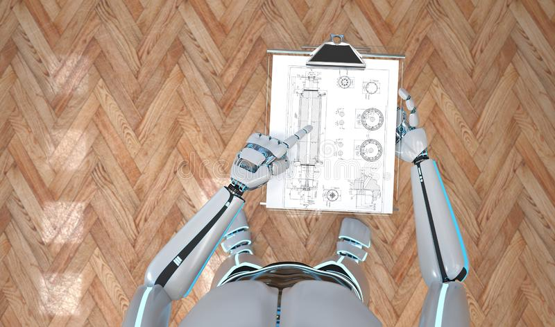 Robot con la lavagna per appunti illustrazione vettoriale