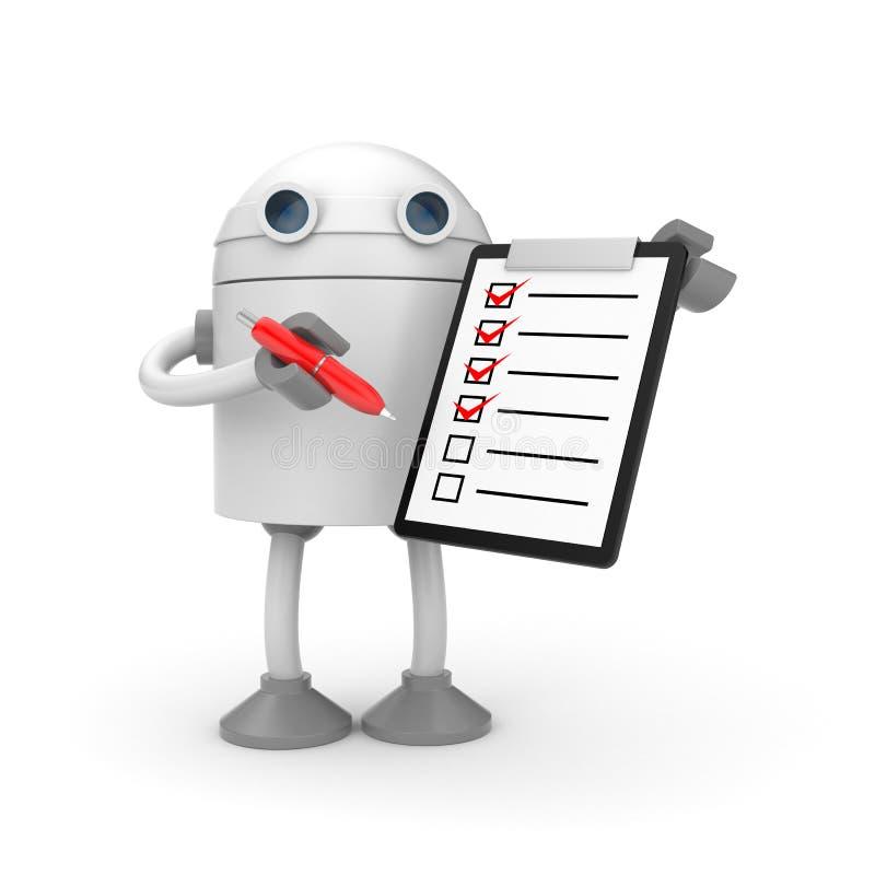 Robot con la lavagna per appunti ed il segno convenzionale rosso royalty illustrazione gratis