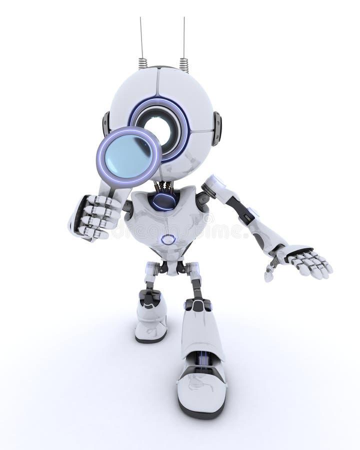 Robot con la lente d'ingrandimento royalty illustrazione gratis