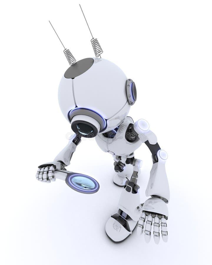 Robot con la lente d'ingrandimento illustrazione vettoriale