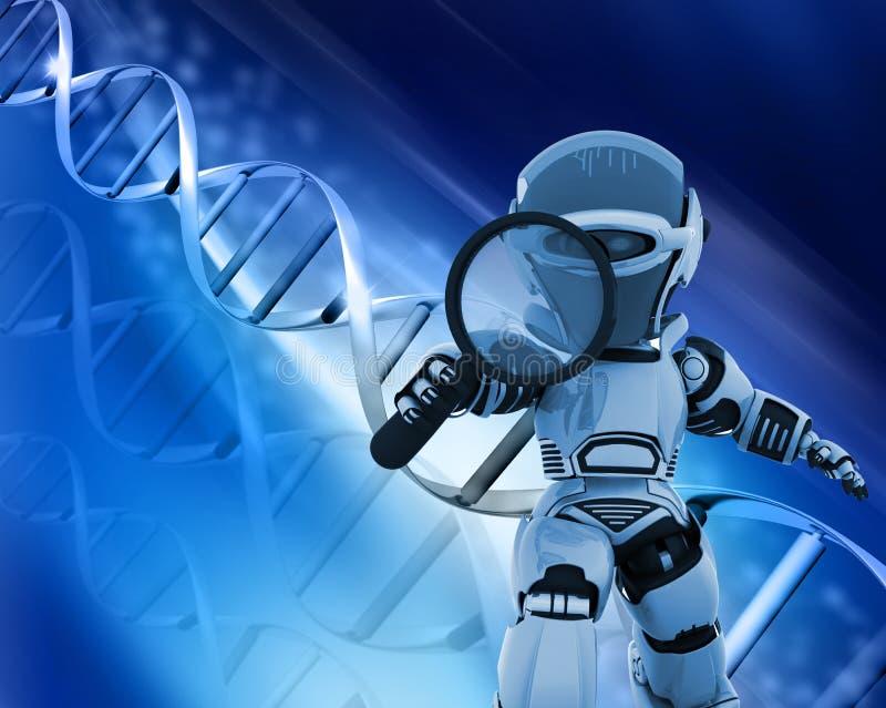 Robot con la lente d'ingrandimento sulla priorità bassa del DNA royalty illustrazione gratis