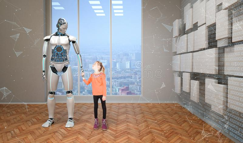 Robot con la muchacha foto de archivo