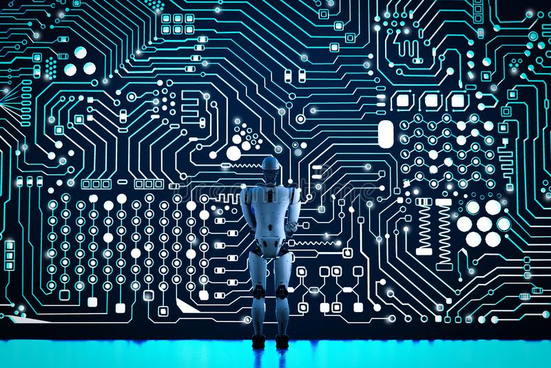 Robot con la parete del circuito illustrazione vettoriale