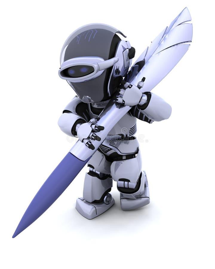 Robot con la penna illustrazione di stock