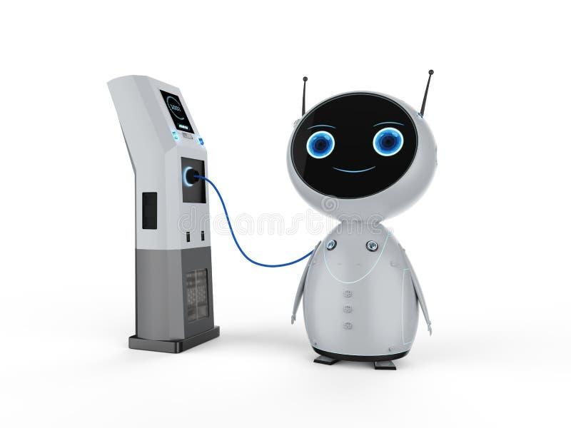 Robot con la stazione di carico elettrica illustrazione di stock