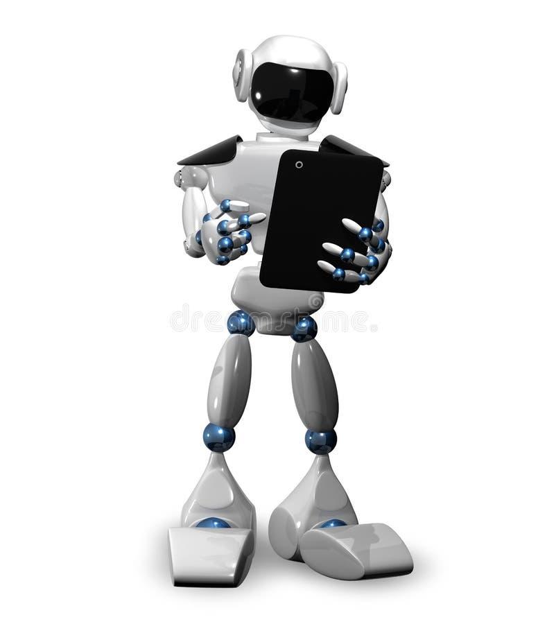 Robot con la tableta ilustración del vector